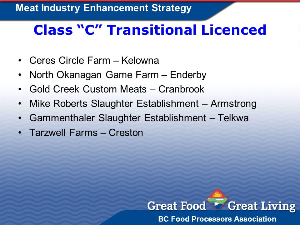 BC Food Processors Association Meat Industry Enhancement Strategy Class C Transitional Licenced Ceres Circle Farm – Kelowna North Okanagan Game Farm – Enderby Gold Creek Custom Meats – Cranbrook Mike Roberts Slaughter Establishment – Armstrong Gammenthaler Slaughter Establishment – Telkwa Tarzwell Farms – Creston
