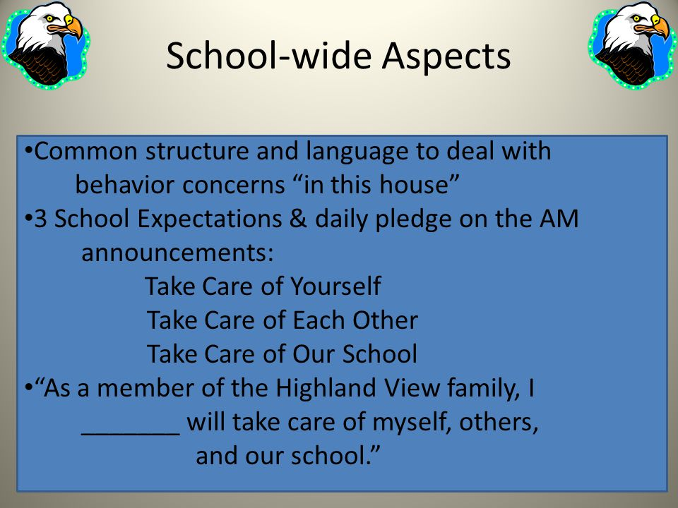 School-wide Aspects Common structure and language to deal with behavior concerns in this house 3 School Expectations & daily pledge on the AM announce