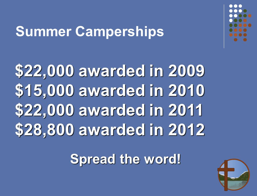 Summer Camperships $22,000 awarded in 2009 $15,000 awarded in 2010 $22,000 awarded in 2011 $28,800 awarded in 2012 Spread the word!
