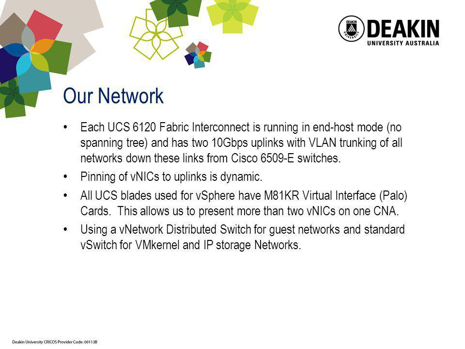 Our Network Each UCS 6120 Fabric Interconnect is running in end-host mode (no spanning tree) and has two 10Gbps uplinks with VLAN trunking of all netw