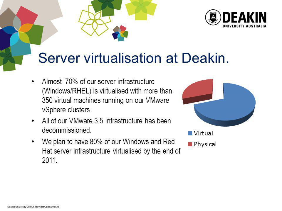 Server virtualisation at Deakin. Almost 70% of our server infrastructure (Windows/RHEL) is virtualised with more than 350 virtual machines running on
