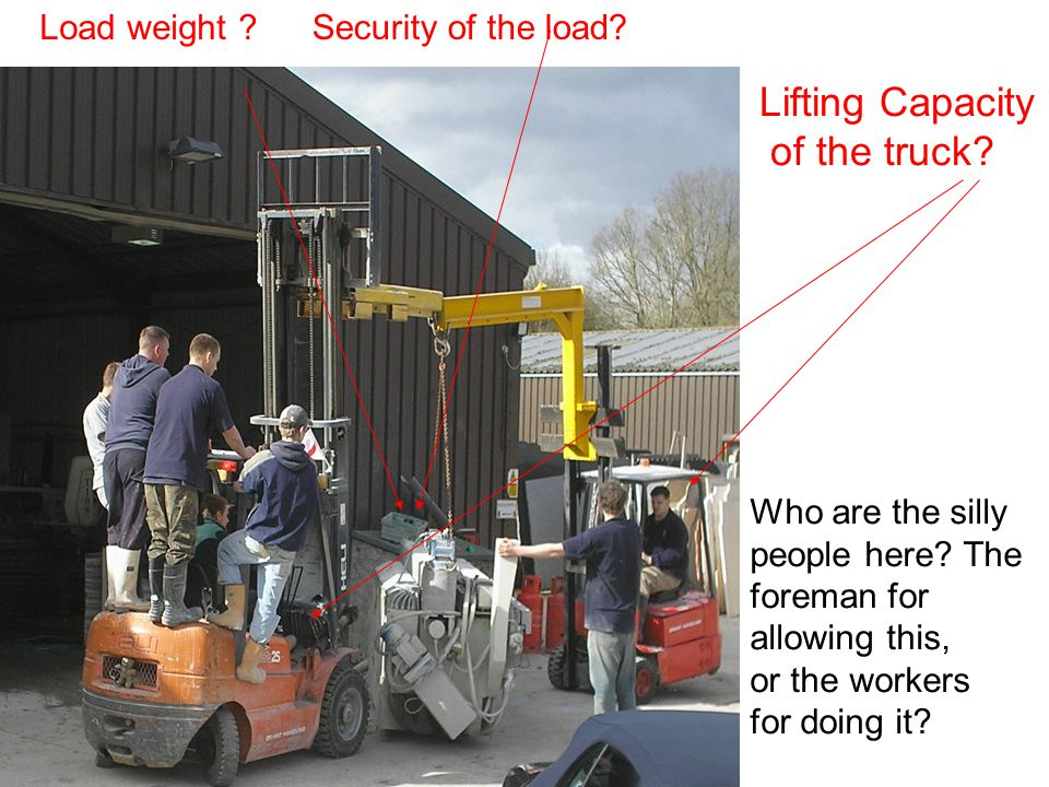 Load weight Security of the load. Lifting Capacity of the truck.