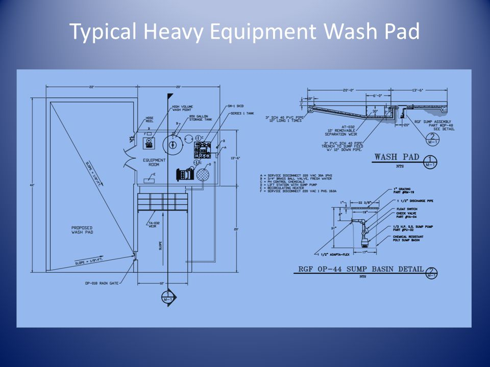 Typical Heavy Equipment Wash Pad