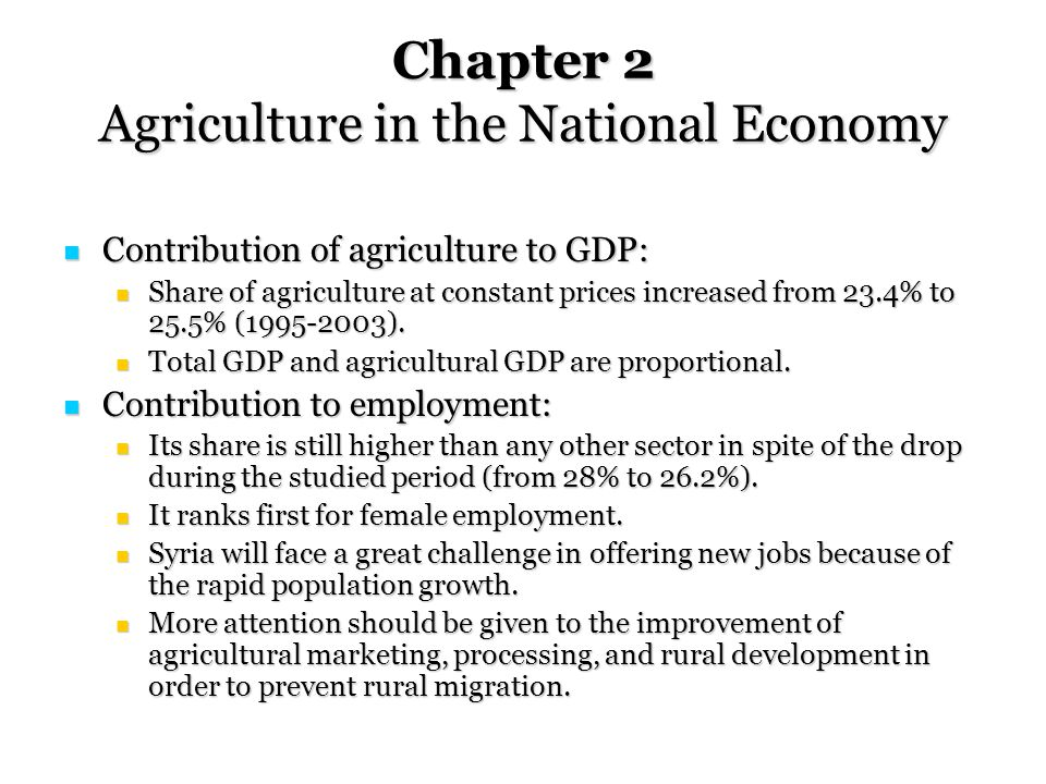 Chapter 2 Agriculture in the National Economy Contribution of agriculture to GDP: Contribution of agriculture to GDP: Share of agriculture at constant prices increased from 23.4% to 25.5% (1995-2003).