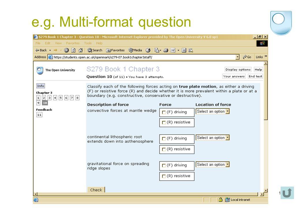 16 e.g. Multi-format question