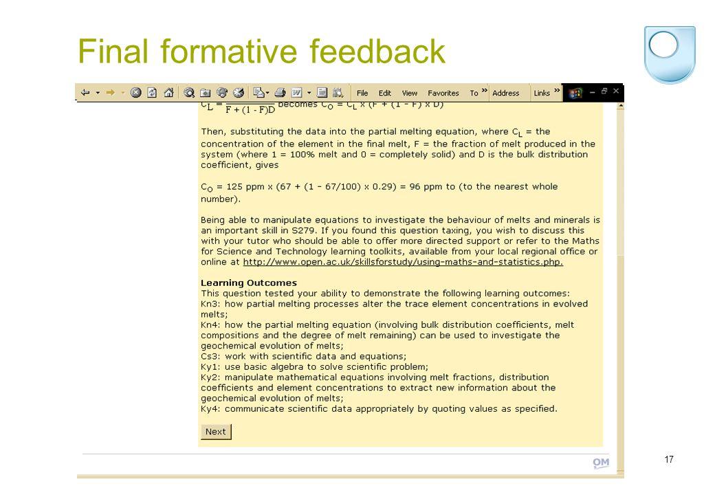 17 Final formative feedback