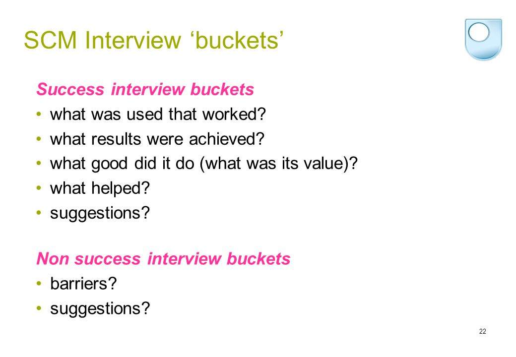 22 SCM Interview buckets Success interview buckets what was used that worked.
