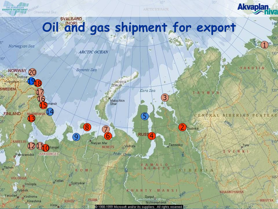 © www.akvaplan.niva.no Oil and gas shipment for export 2 3 4 7 8 9 11212 1313 10 6 19 1 1616 1515 1717 1818 20 14 5