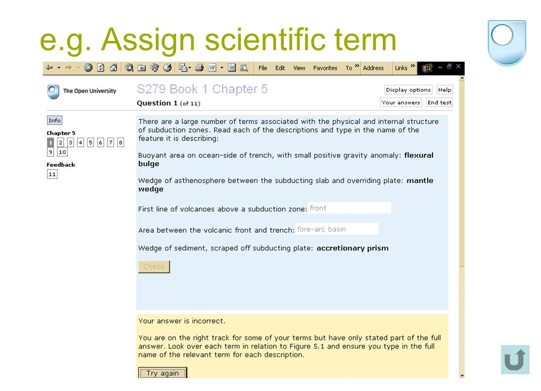 e.g. Assign scientific term