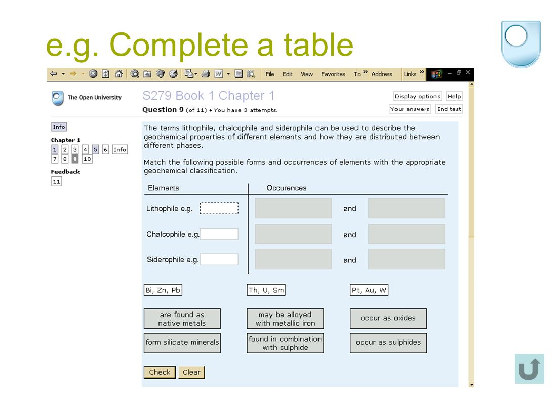 e.g. Complete a table