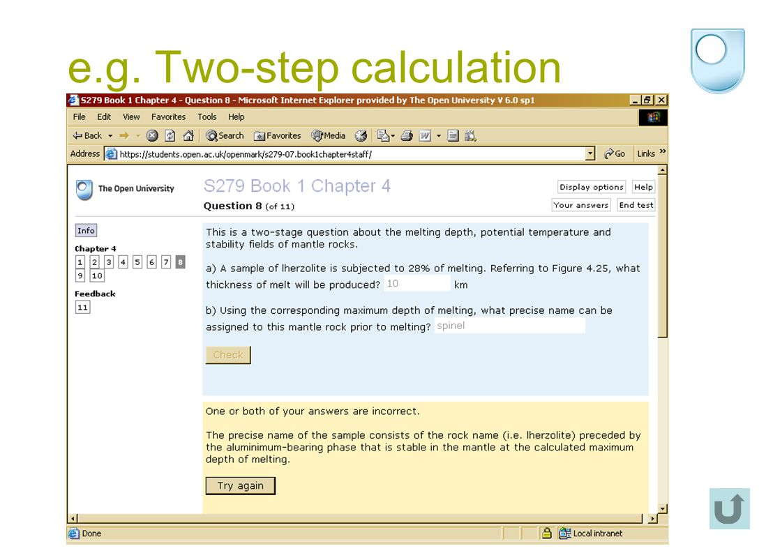 e.g. Two-step calculation