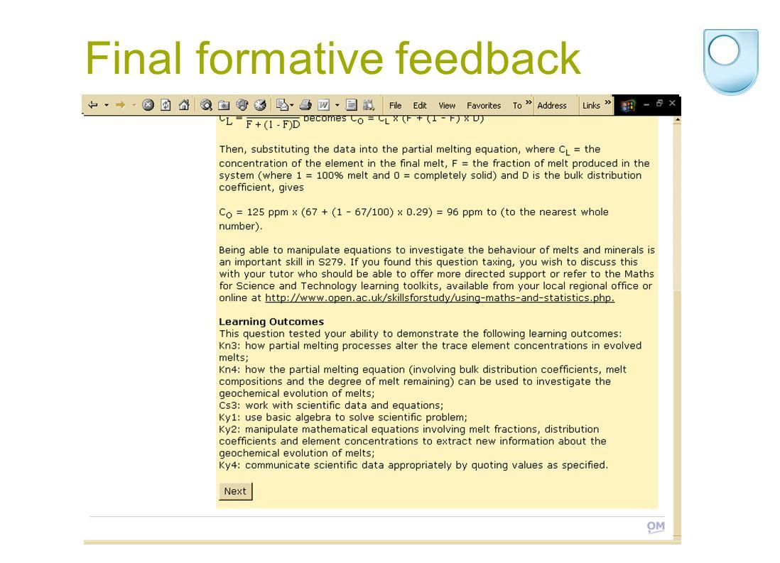 Final formative feedback
