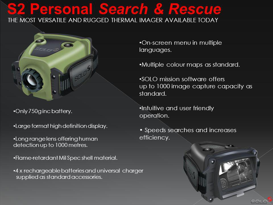 S2 Personal Search & Rescue On-screen menu in multiple languages.