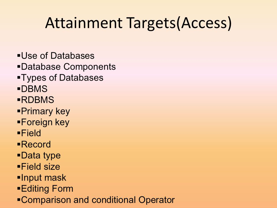 Attainment Targets(Access) Use of Databases Database Components Types of Databases DBMS RDBMS Primary key Foreign key Field Record Data type Field size Input mask Editing Form Comparison and conditional Operator