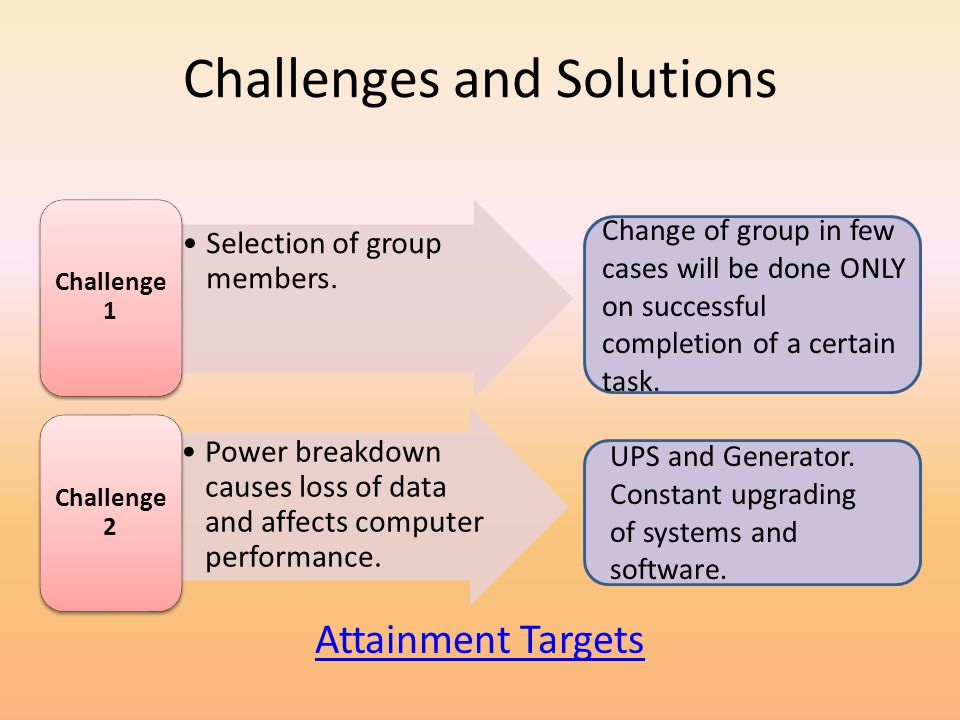 Challenges and Solutions Selection of group members.