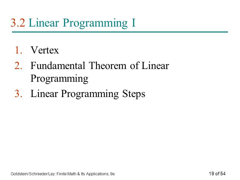 Goldstein/Schnieder/Lay: Finite Math & Its Applications, 9e 19 of 54 3.2 Linear Programming I 1.Vertex 2.Fundamental Theorem of Linear Programming 3.L