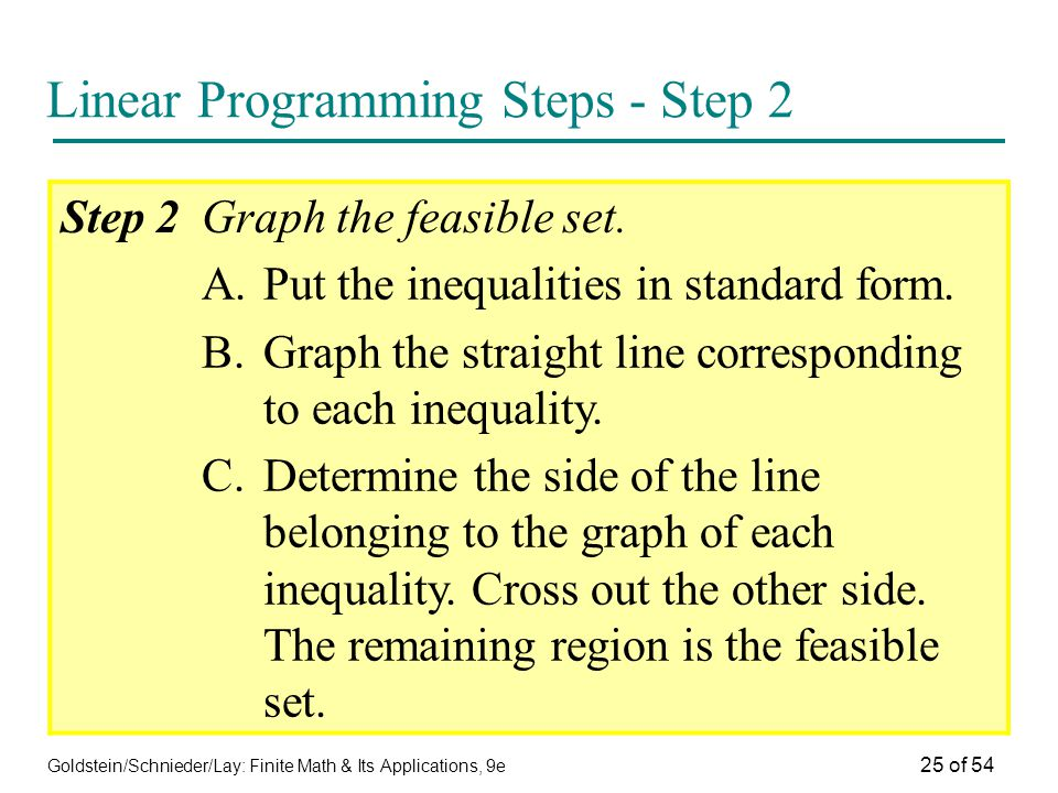 Goldstein/Schnieder/Lay: Finite Math & Its Applications, 9e 25 of 54 Linear Programming Steps - Step 2 Step 2Graph the feasible set. A.Put the inequal