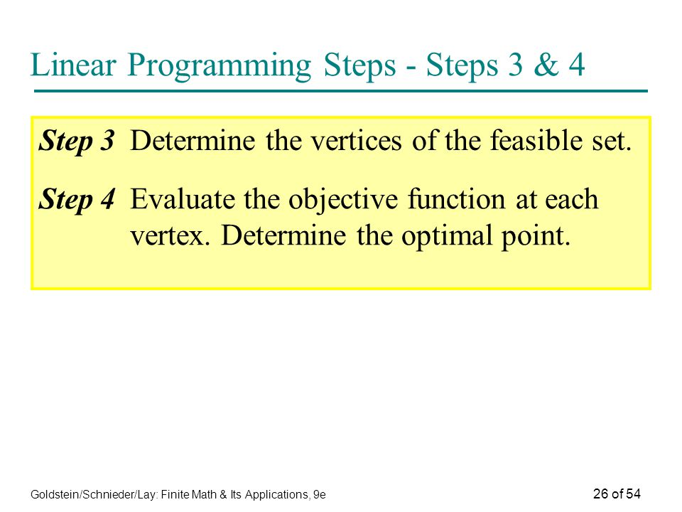 Goldstein/Schnieder/Lay: Finite Math & Its Applications, 9e 26 of 54 Linear Programming Steps - Steps 3 & 4 Step 3Determine the vertices of the feasib