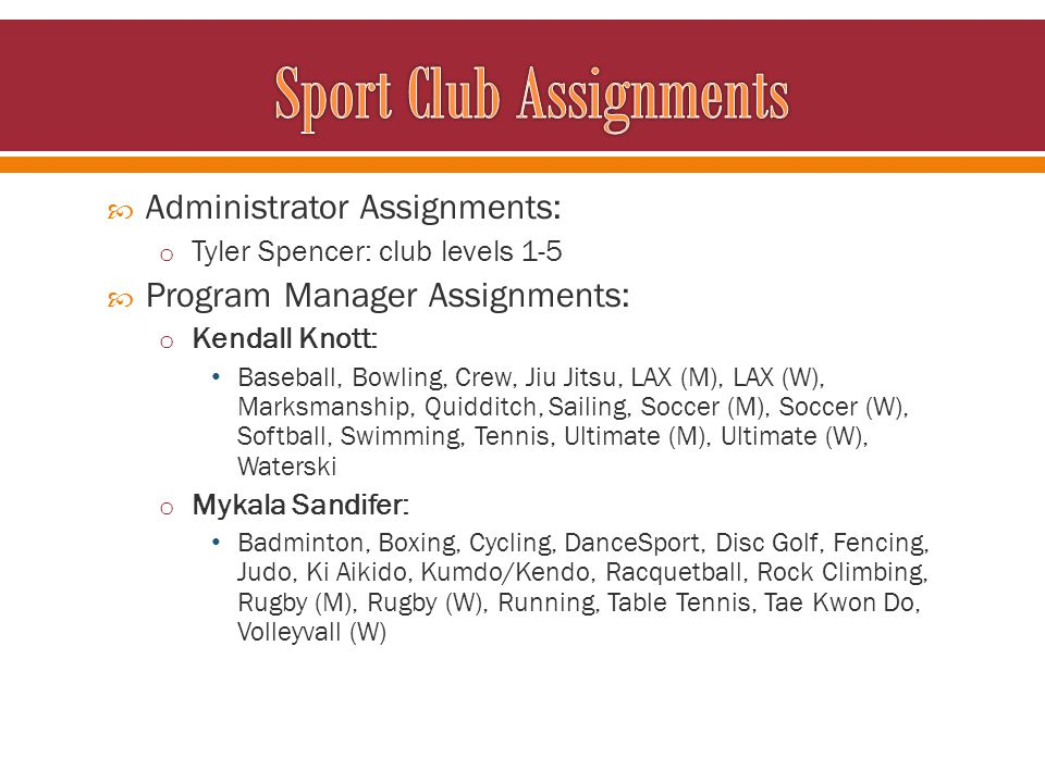 Administrator Assignments: o Tyler Spencer: club levels 1-5 Program Manager Assignments: o Kendall Knott: Baseball, Bowling, Crew, Jiu Jitsu, LAX (M),