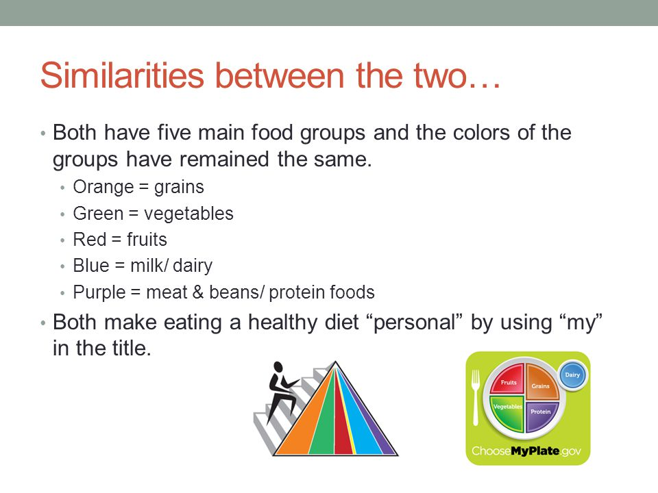 Similarities between the two… Both have five main food groups and the colors of the groups have remained the same. Orange = grains Green = vegetables