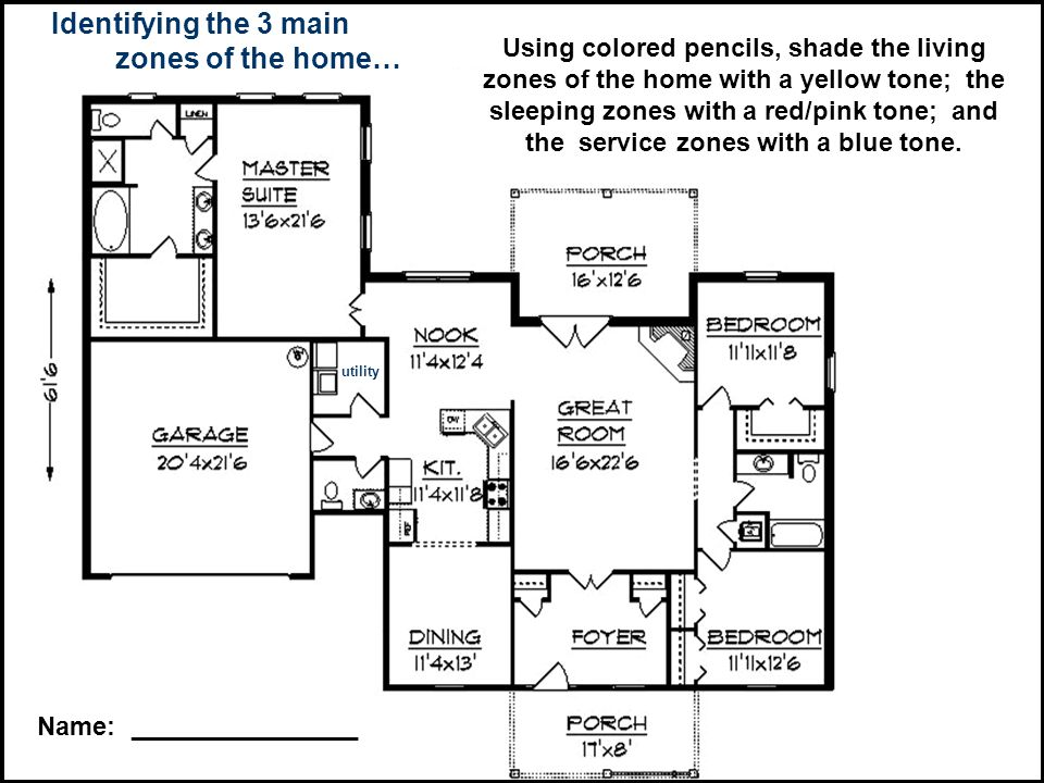 Identifying the 3 main zones of the home… Using colored pencils, shade the living zones of the home with a yellow tone; the sleeping zones with a red/