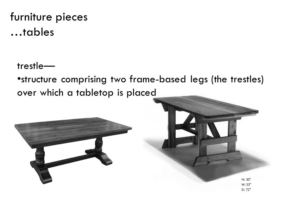 trestle structure comprising two frame-based legs (the trestles) over which a tabletop is placed furniture pieces …tables