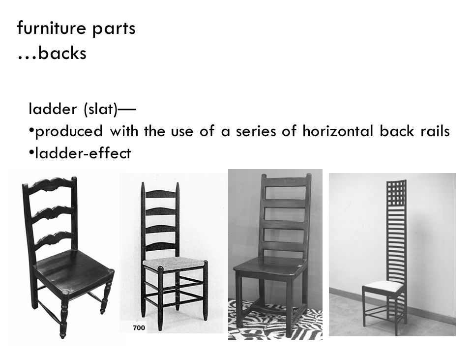 ladder (slat) produced with the use of a series of horizontal back rails ladder-effect furniture parts …backs