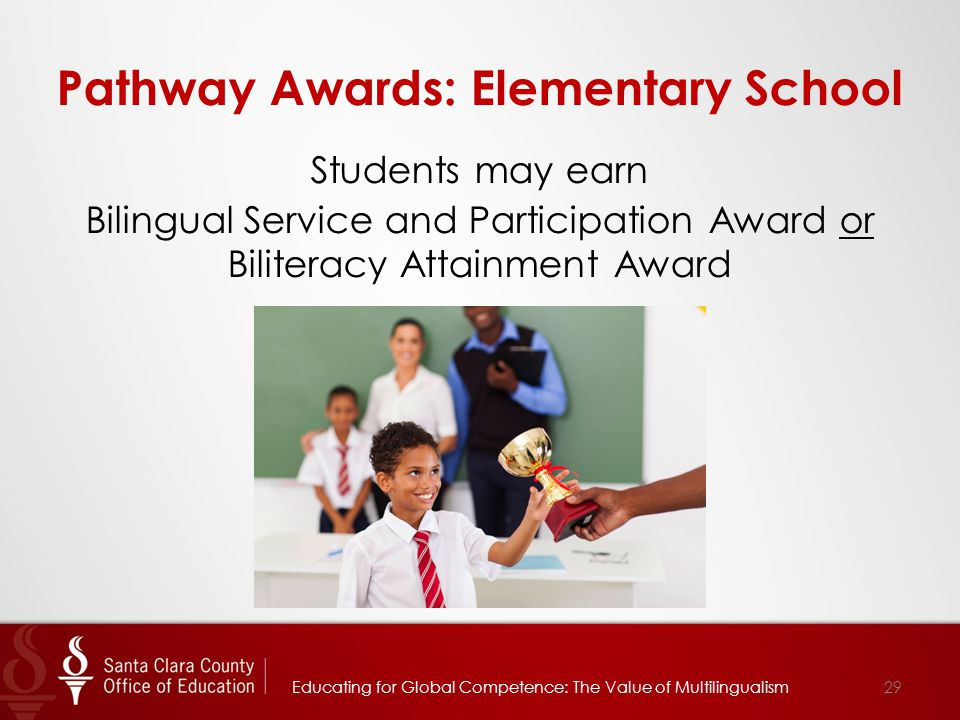 Pathway Awards: Elementary School Students may earn Bilingual Service and Participation Award or Biliteracy Attainment Award 29Educating for Global Co
