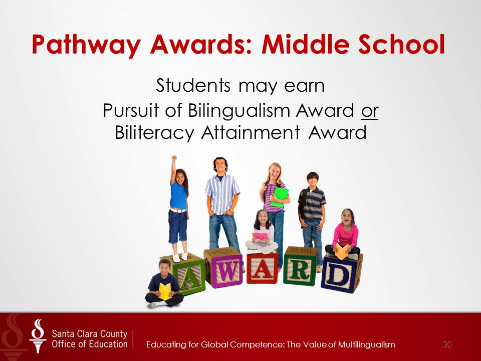 Pathway Awards: Middle School Students may earn Pursuit of Bilingualism Award or Biliteracy Attainment Award 30Educating for Global Competence: The Va