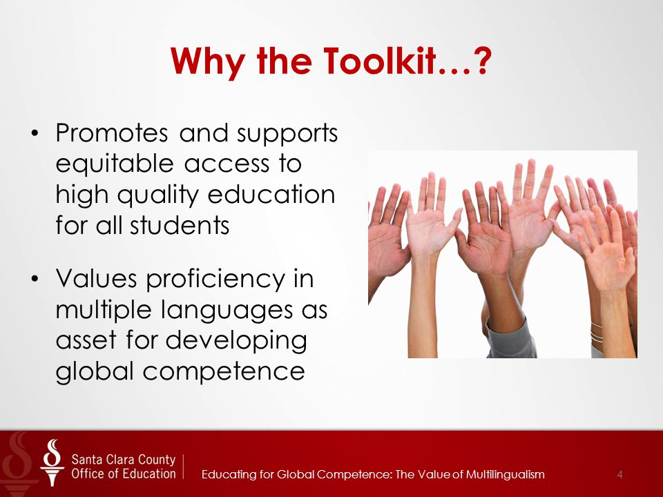 For More Information Yee Wan, Ed.D., Director, Multilingual Education Services yee_wan@sccoe.org 408-453-6825 yee_wan@sccoe.org Angelica Ramsey, Ed.D., Chief Academic Officer Educational Services Branch angelica_ramsey@sccoe.org 408-453-6508 angelica_ramsey@sccoe.org 35Educating for Global Competence: The Value of Multilingualism
