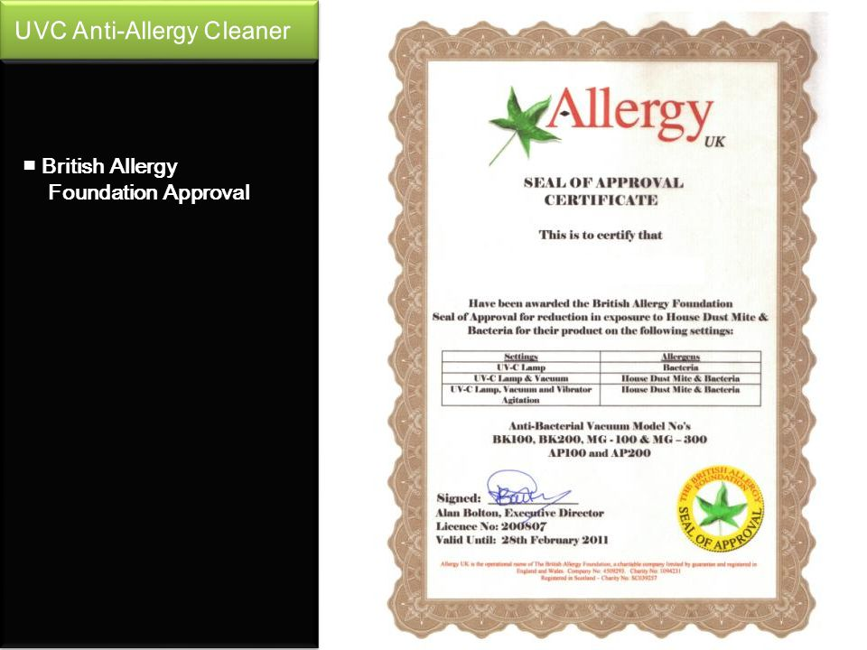 British Allergy Foundation Approval
