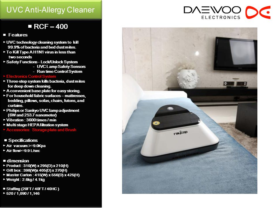 Features UVC technology cleaning system to kill 99.9% of bacteria and bed dust mites.