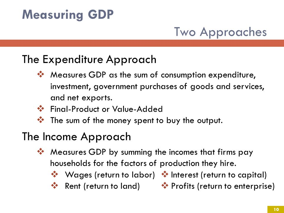 Measuring GDP Two Approaches The Expenditure Approach Measures GDP as the sum of consumption expenditure, investment, government purchases of goods and services, and net exports.