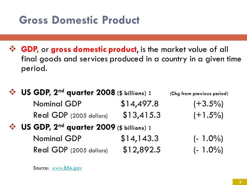 Gross Domestic Product GDP, or gross domestic product, is the market value of all final goods and services produced in a country in a given time period.