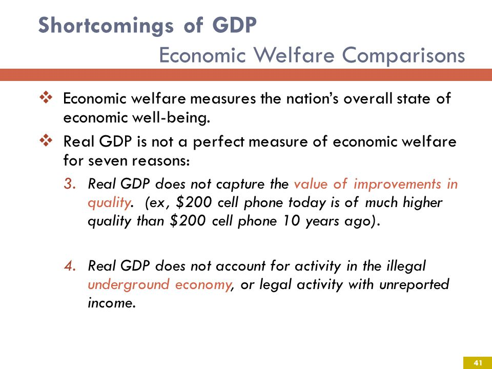 Shortcomings of GDP Economic Welfare Comparisons 41 Economic welfare measures the nations overall state of economic well-being.