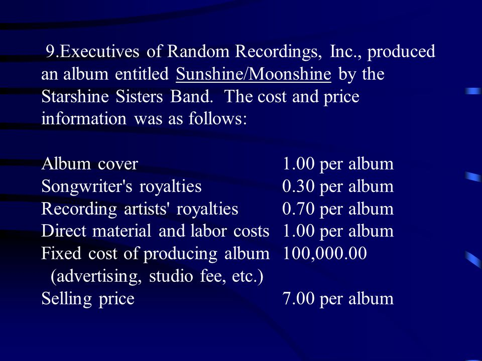9.Executives of Random Recordings, Inc., produced an album entitled Sunshine/Moonshine by the Starshine Sisters Band.