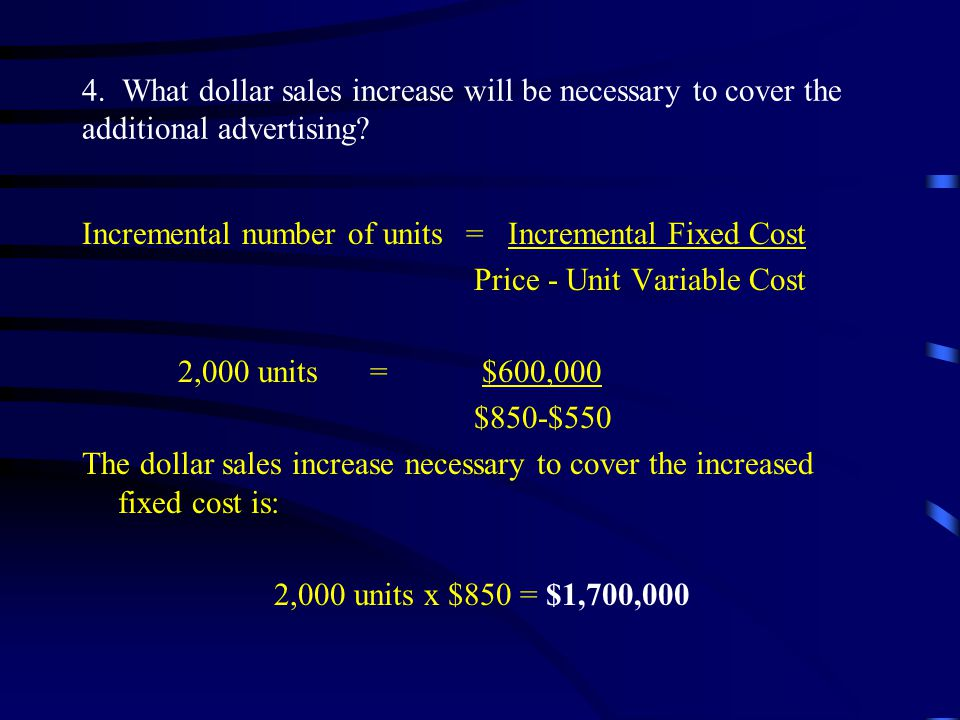 4.What dollar sales increase will be necessary to cover the additional advertising.