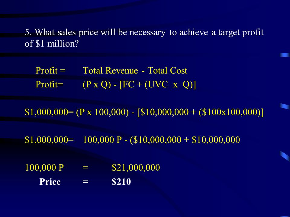 5.What sales price will be necessary to achieve a target profit of $1 million.