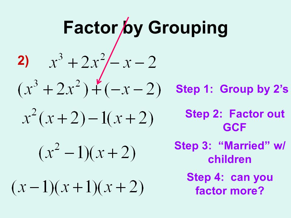 Factor by Grouping 2) Step 1: Group by 2s Step 2: Factor out GCF Step 3: Married w/ children Step 4: can you factor more?