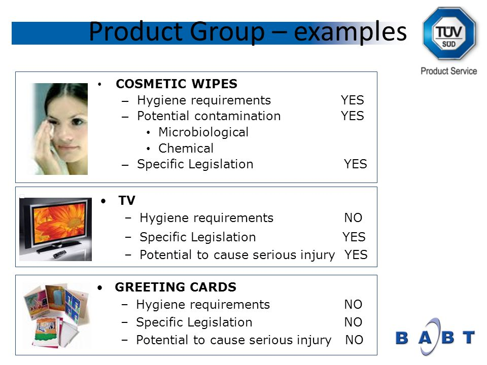 Product Group – examples COSMETIC WIPES – Hygiene requirements YES – Potential contamination YES Microbiological Chemical – Specific Legislation YES TV –Hygiene requirements NO –Specific Legislation YES –Potential to cause serious injury YES GREETING CARDS –Hygiene requirements NO –Specific Legislation NO –Potential to cause serious injury NO