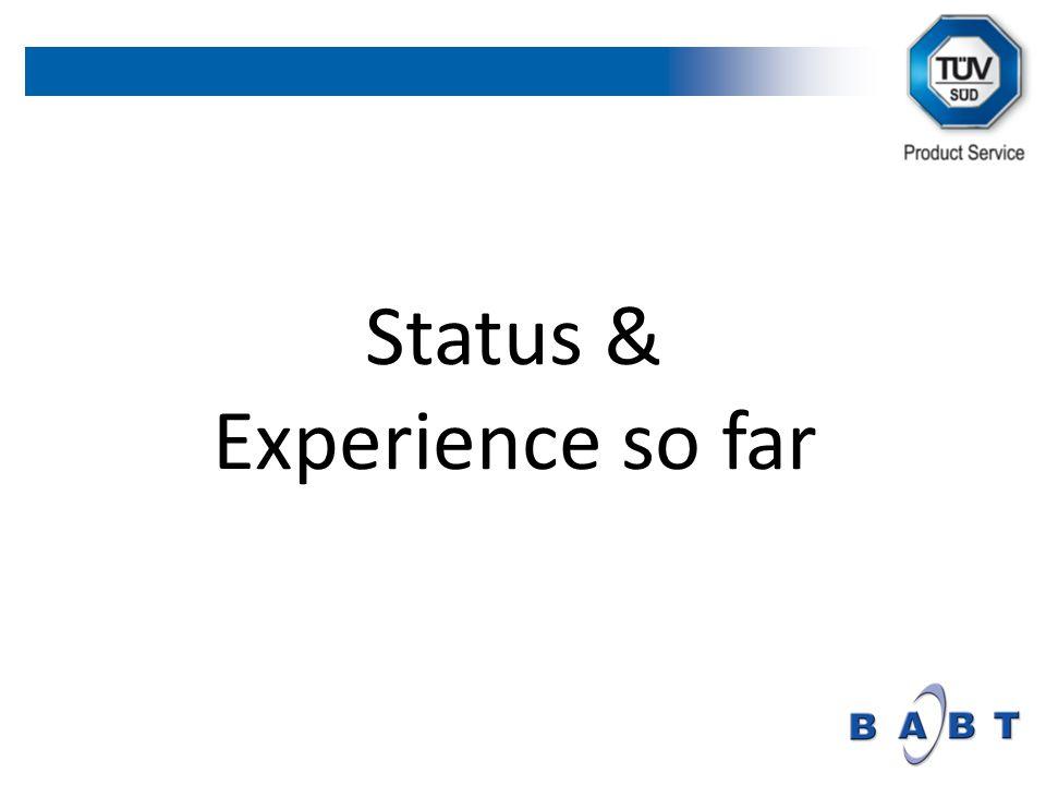 Status & Experience so far