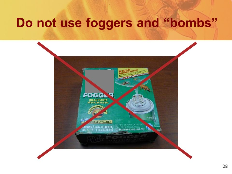 28 Do not use foggers and bombs