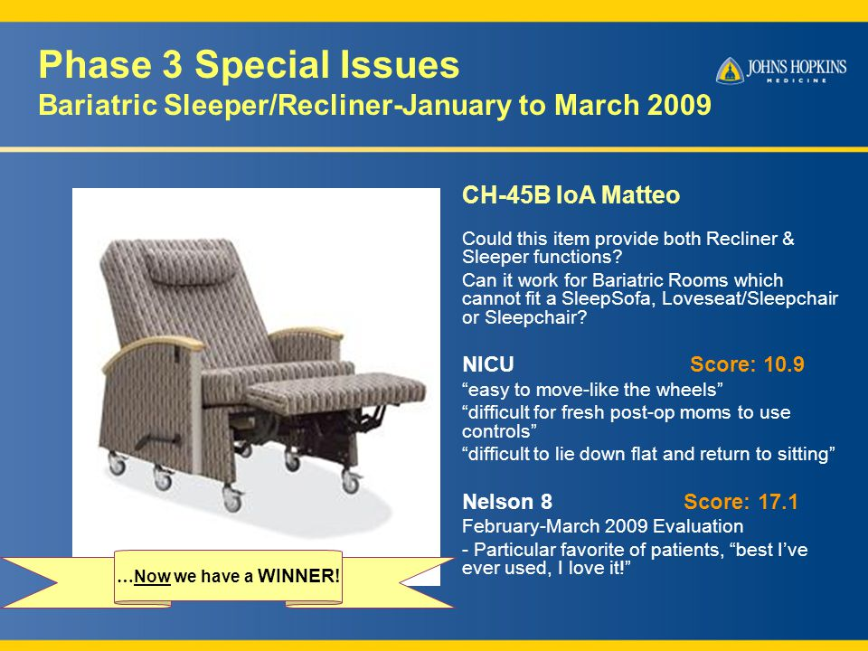 Phase 3 Special Issues Bariatric Sleeper/Recliner-January to March 2009 CH-45B IoA Matteo Could this item provide both Recliner & Sleeper functions.
