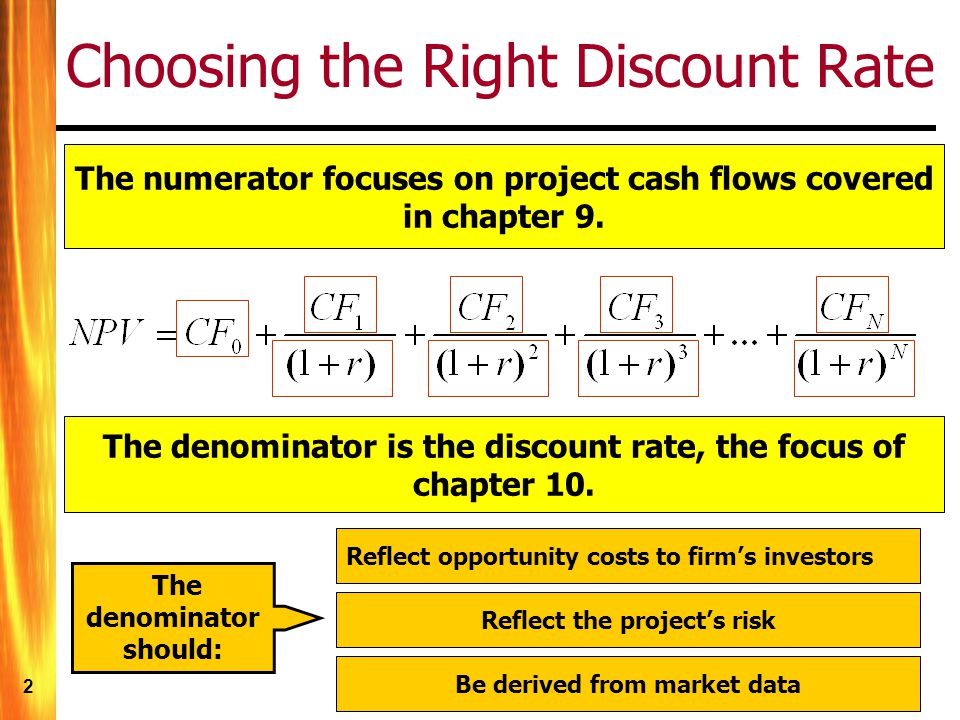 3 A Simple Case Firm is financed with 100% equity Project is similar to the firms existing assets Project discount rate is easy to determine if we assume : In this case, the appropriate discount rate equals the cost of equity.