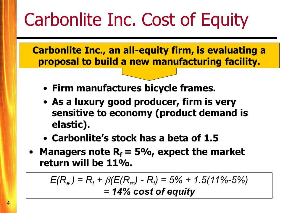 4 Carbonlite Inc. Cost of Equity E(R e ) = R f + (E(R m ) - R f ) = 5% + 1.5(11%-5%) = 14% cost of equity Carbonlite Inc., an all-equity firm, is eval