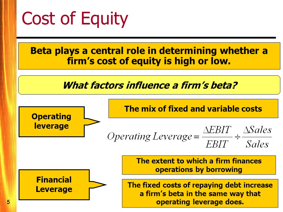 5 Cost of Equity Beta plays a central role in determining whether a firms cost of equity is high or low.