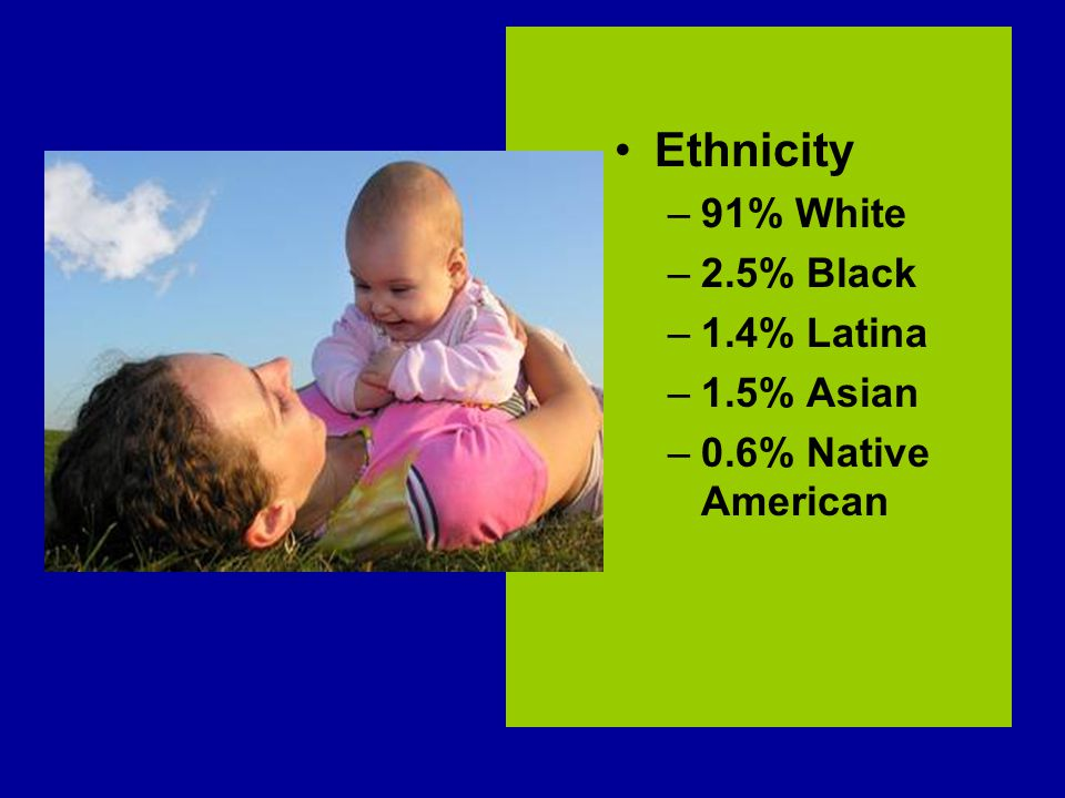 Ethnicity –91% White –2.5% Black –1.4% Latina –1.5% Asian –0.6% Native American