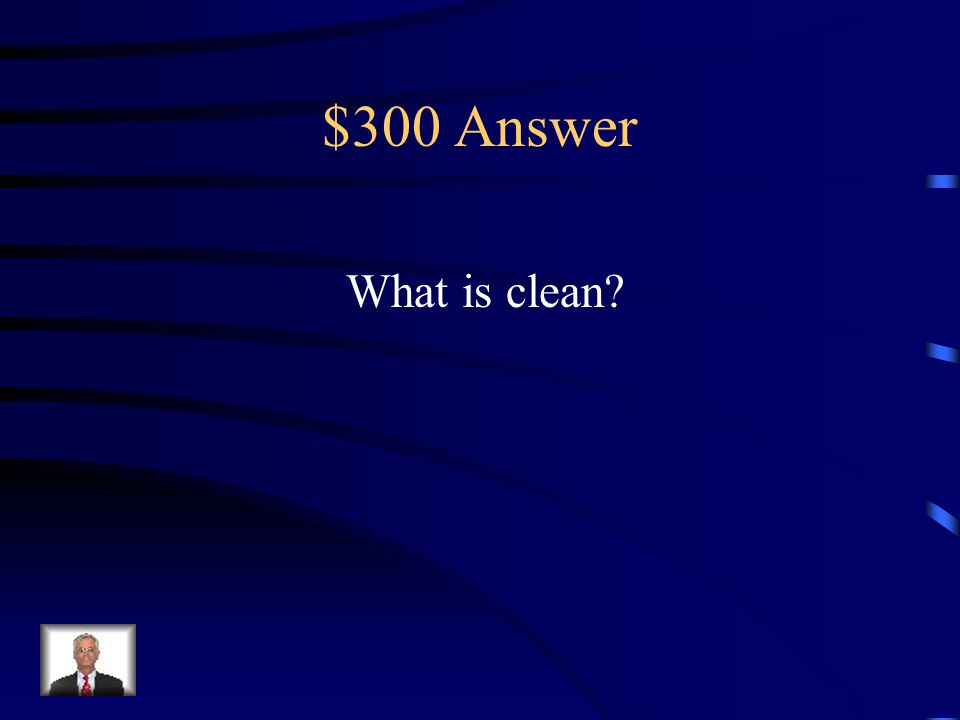 $300 Question The antonym of dirty. filthy clean old dirt
