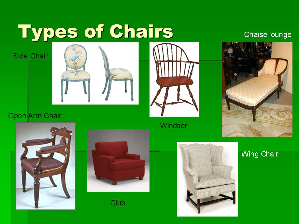 Types of Chairs Windsor Club Side Chair Open Arm Chair