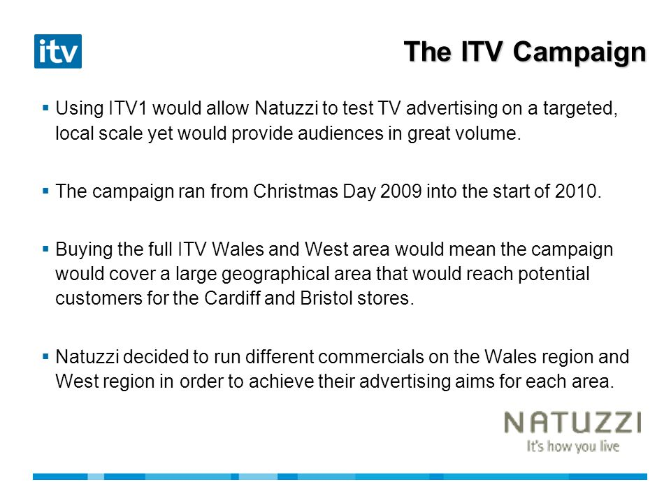 Campaign Details Area: ITV1 Wales Target Audience:Adults Campaign Dates:25 th December 2009 7 th January 2010 Days Activity: 14 Spots: 49 Second Length:30 seconds